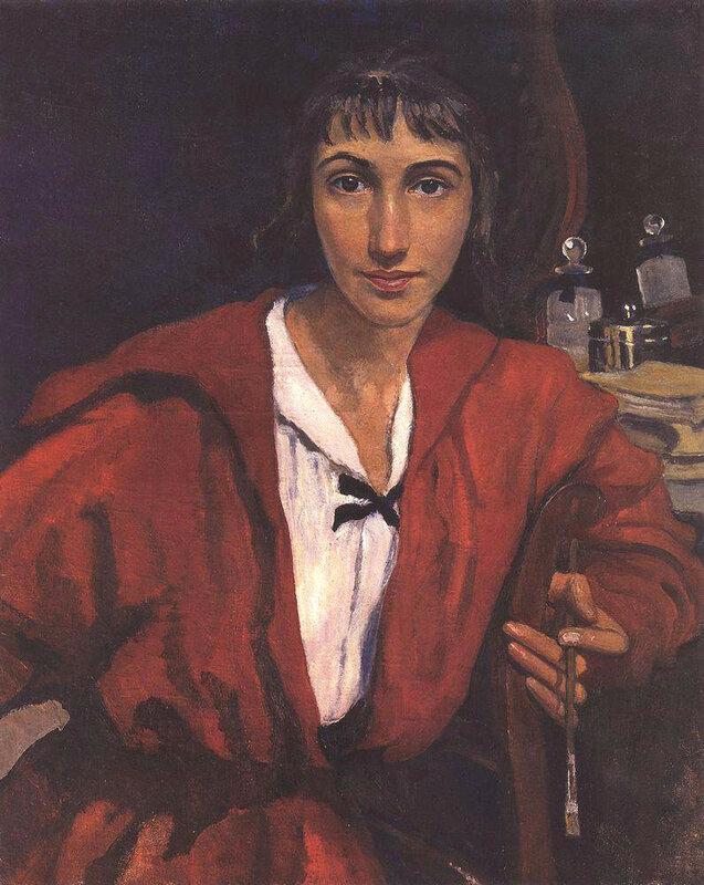 Автопортрет в красном. 1921