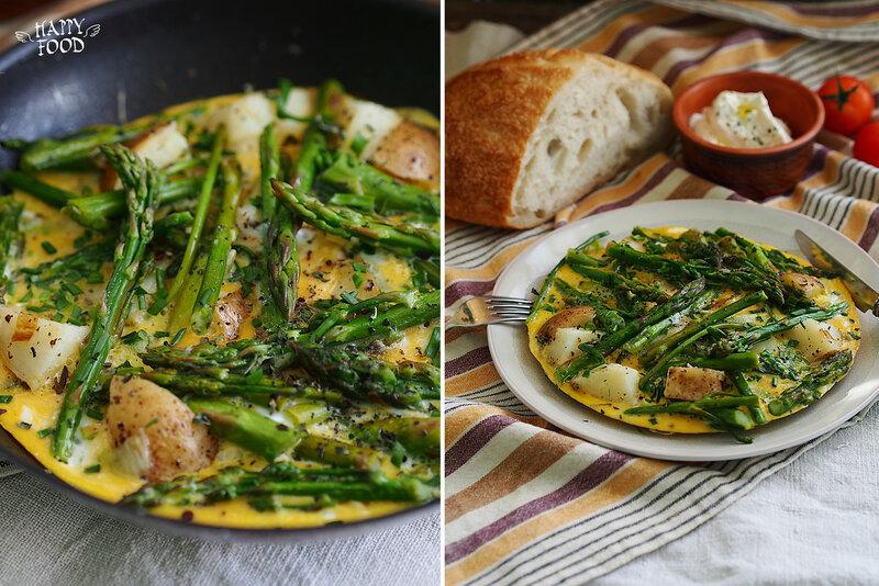 Омлет со спаржей, картофелем и зеленым луком