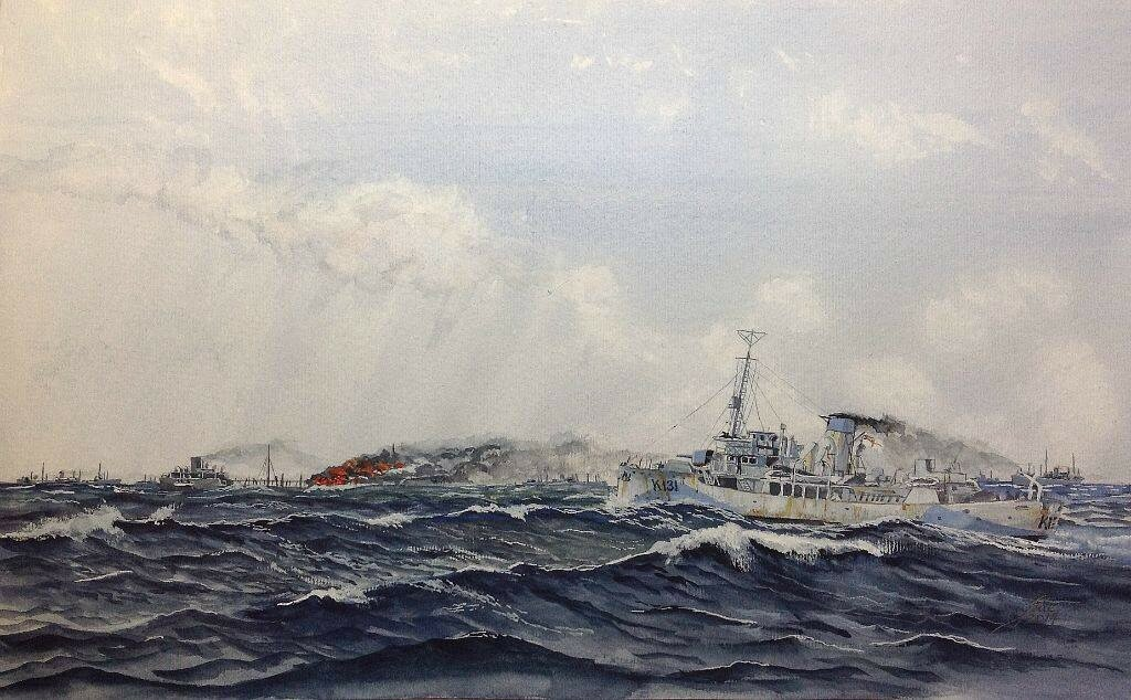 Keeping the Spitfires flying. HMCS Chilliwack heads for a burning tanker in a North Atlantic convoy. The supply of oil was vital for the war effort.