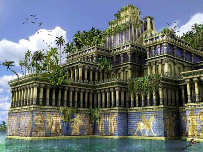 Висячие сады Семирамиды.  Навуходоносор создал висячий парк для своей супруги Амитис. Женщи