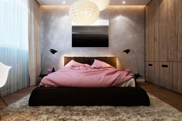 Мягкий интерьер спальни, который хочется рассматривать. Несмотря на то, что в интерьере соединены са