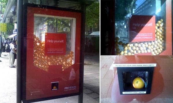 Ккаждому фрукту прикреплен рекламный листок, где содержится приглашение пройти тест насостояние зд