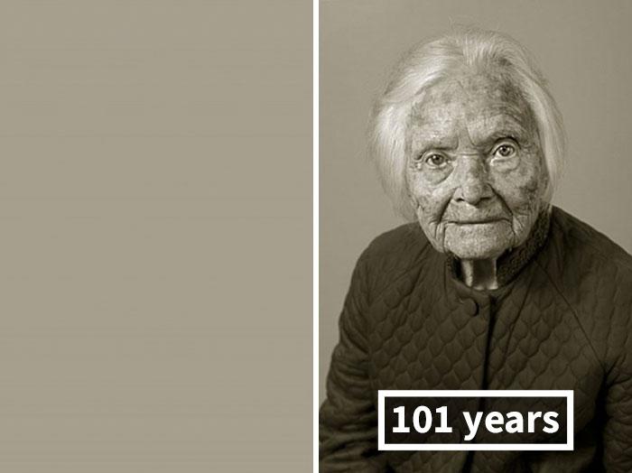 Мари Фейфарова, ее личные архивы были сожжены; справа — 101 год.