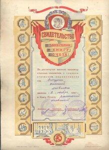 1949 г. Свидетельство