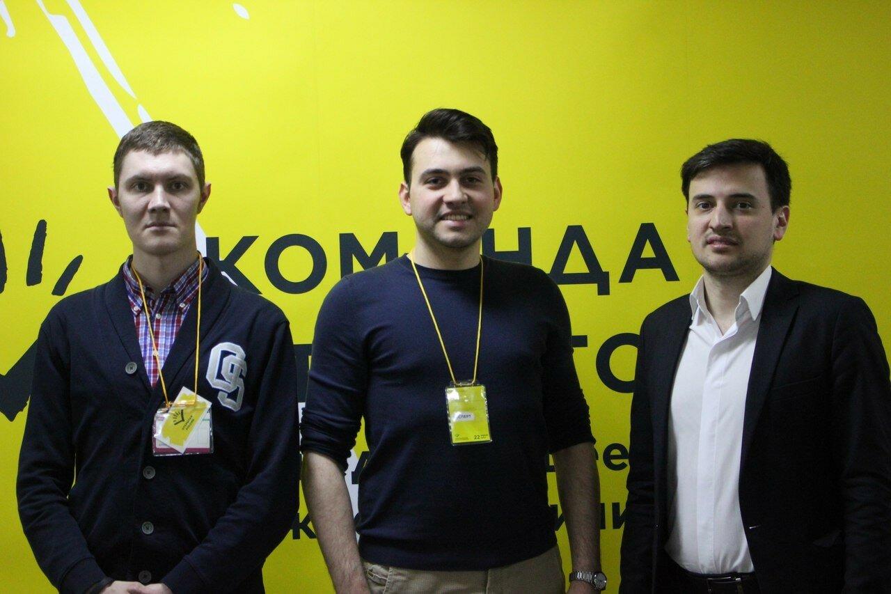 Денис Стяжкин, член политсовета ПАРНАС Дмитрий Андросов и новый председатель Открытой России Александр Соловьев