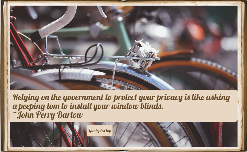 Relying on the government to protect your privacy is like asking a peeping tom to install your window blinds. ~John Perry Barlow