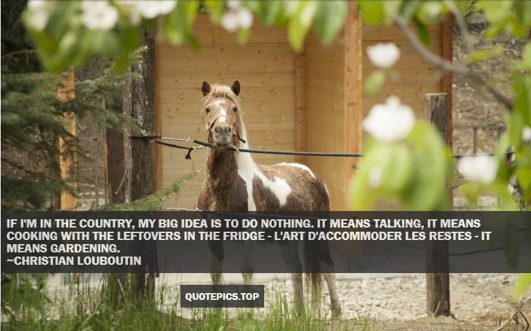 If I'm in the country, my big idea is to do nothing. It means talking, it means cooking with the leftovers in the fridge - l'art d'accommoder les restes - it means gardening. ~Christian Louboutin