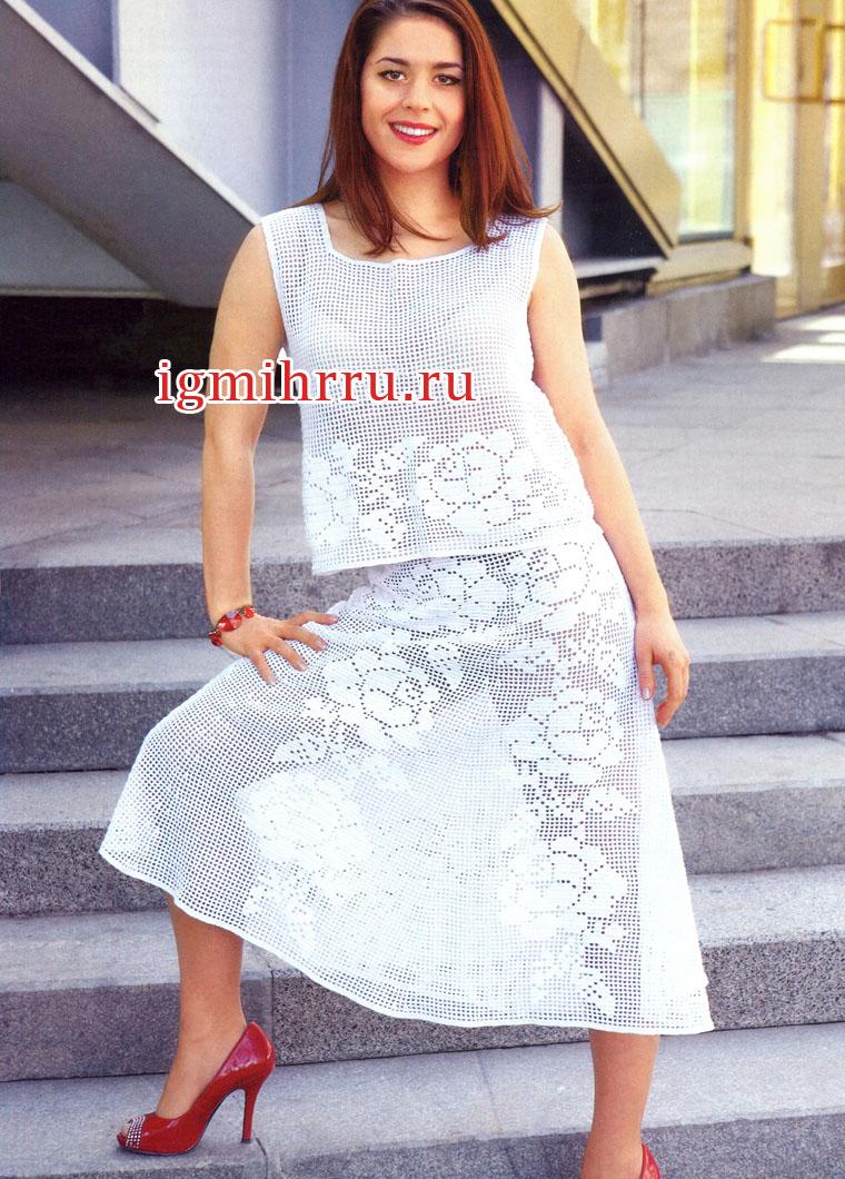 Мода PLUS. Белый филейный костюм с розами: топ и юбка-шестиклинка. Вязание крючком