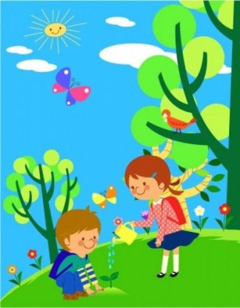 14 мая День посадки леса. Мальчик и девочка поливают дерево в лесу