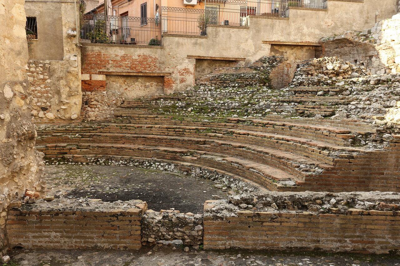 Taormina. Ruins of the Odeon theater (Teatro Odeon)