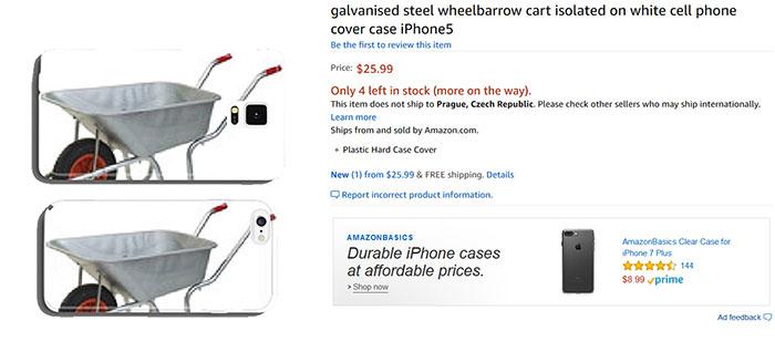 Оцинкованная садовая тележка, чехол для iPhone 5. Скриншоты наиболее странных принтов для чехлов в с