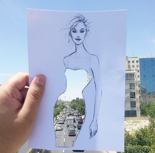 Cut-Out Dress Sketches Completed With Urban Scenes