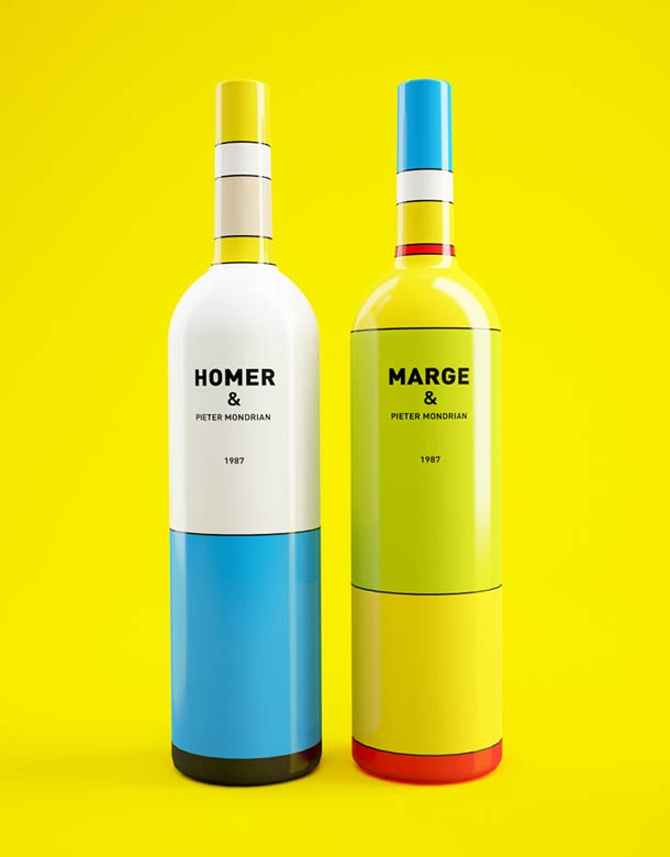 Wine bottles inspired by Mondrian and the Simpsons (6 pics)