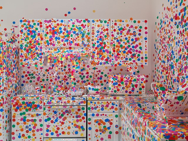 The Obliteration Room with Colorful Polka-Dot Stickers