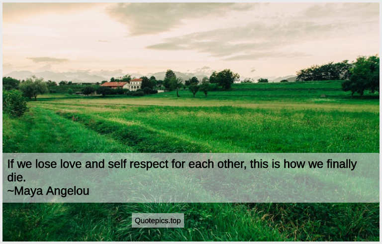 If we lose love and self respect for each other, this is how we finally die. ~Maya Angelou