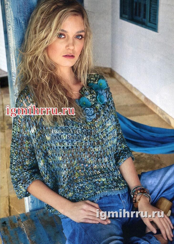 Свободный пуловер с узором из вытянутых петель. Вязание спицами