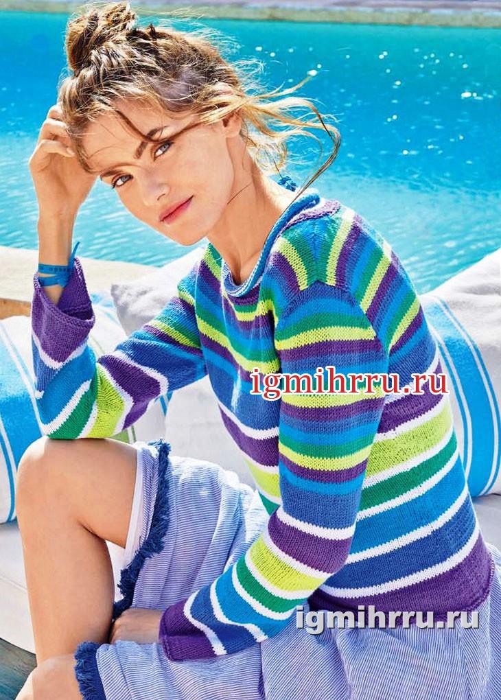 Летний пуловер в разноцветную полоску. Вязание спицами