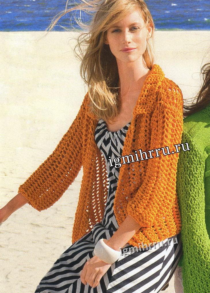 Летний сетчатый жакет оранжевого цвета. Вязание спицами