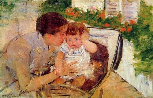 Мэри Кассат англ. Mary Cassatt; Susan Comforting the Baby Сьюзан успокаивает ребенка