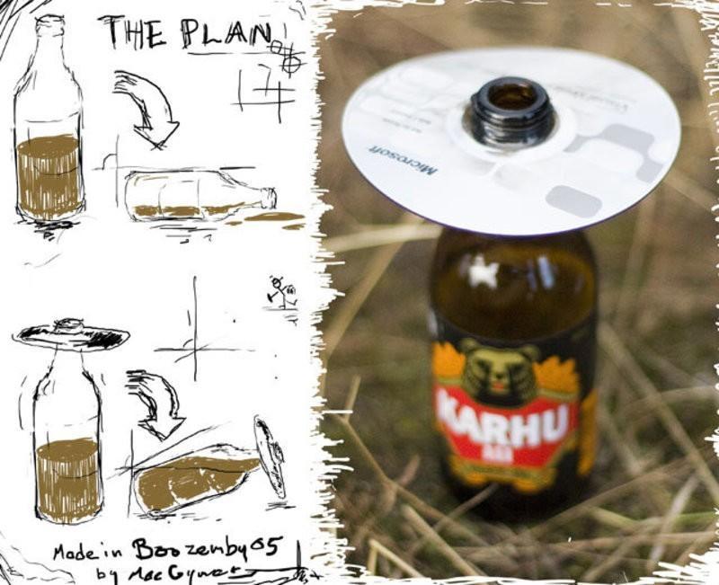 8. Продолжая тему пикников и CD: вот так легко можно сделать из обычной бутылки «непроливайку» и бол