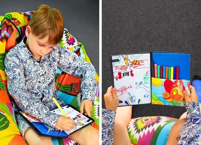 Влевую часть коробки вложите небольшую стопку бумаги, чтобы ваш юный Пикассо неощущал недостатка в
