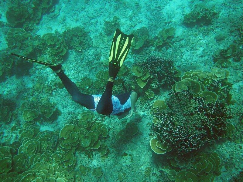 Дайвер в ластах ныряет к кораллам у дна Андаманского моря на побережье островов Симилан