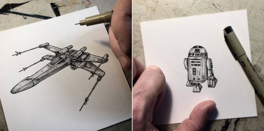 Star Wars Miniature Illustrations Made with Tiny Dots (5 pics)