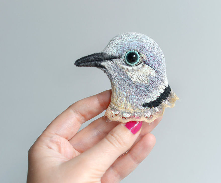 Lifelike Bird Pins Embroidered by Paulina Bartnik