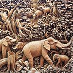 резьба по дереву слоники в джунглях
