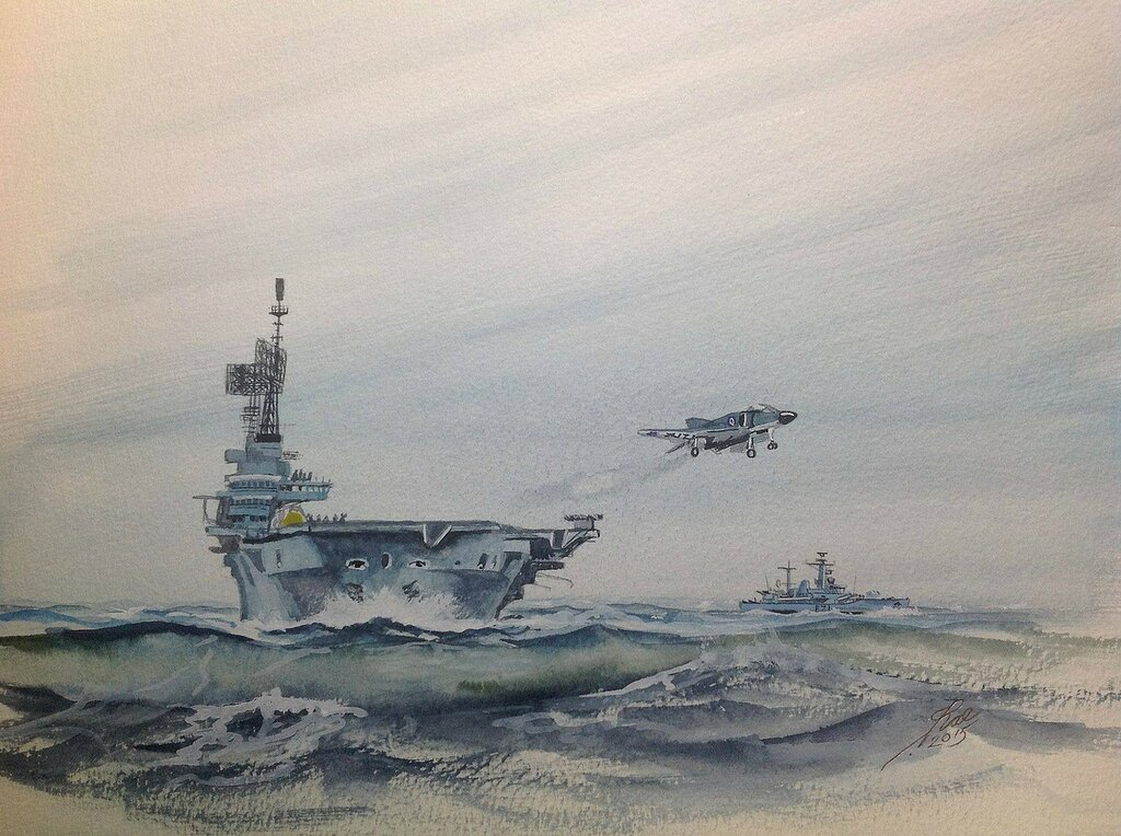 Ark Royal, Scylla and a Phantom doing 'Touch And Go's' .