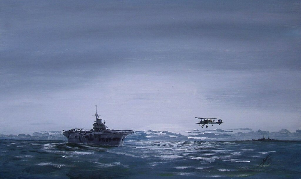'The Battle of Taranto'  the final Swordfish returning to HMS ILLUSTRIOUS.