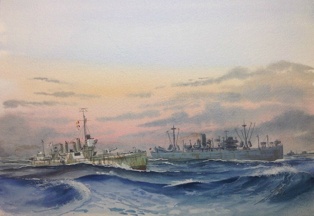 HMCS Salisbury ex American four stacker on convoy duty.