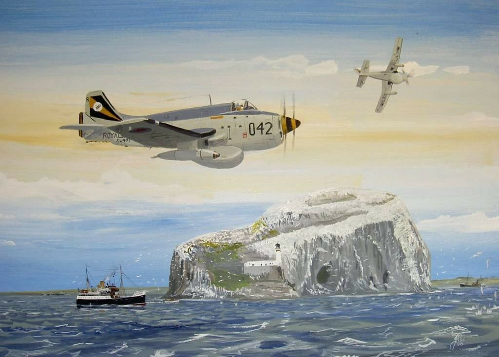 Two Fairey Gannet EAW4's passing the Bass Rock.