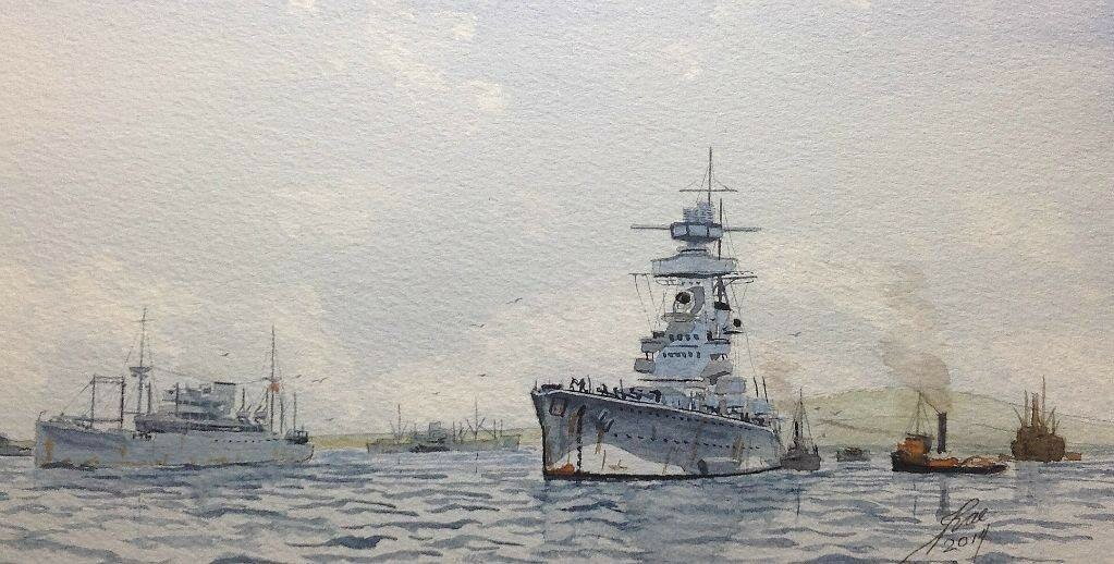 Graf Spee in Montevideo, with the british steamer Dunster Grange leaving harbour.