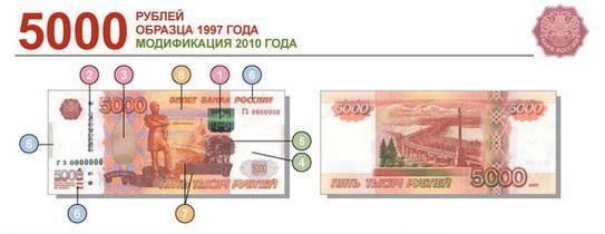 5000 рублей образца 1997 года модификация 2010 года