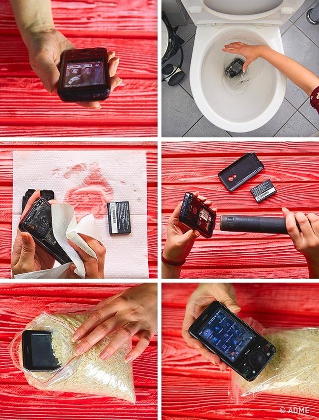 Сначала нужно обтереть промокший телефон бумажным полотенцем, достать аккумулятор иизвлечь SIM-карт