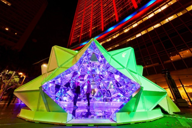 Kaleidoscopic Origami Dome (8 pics)