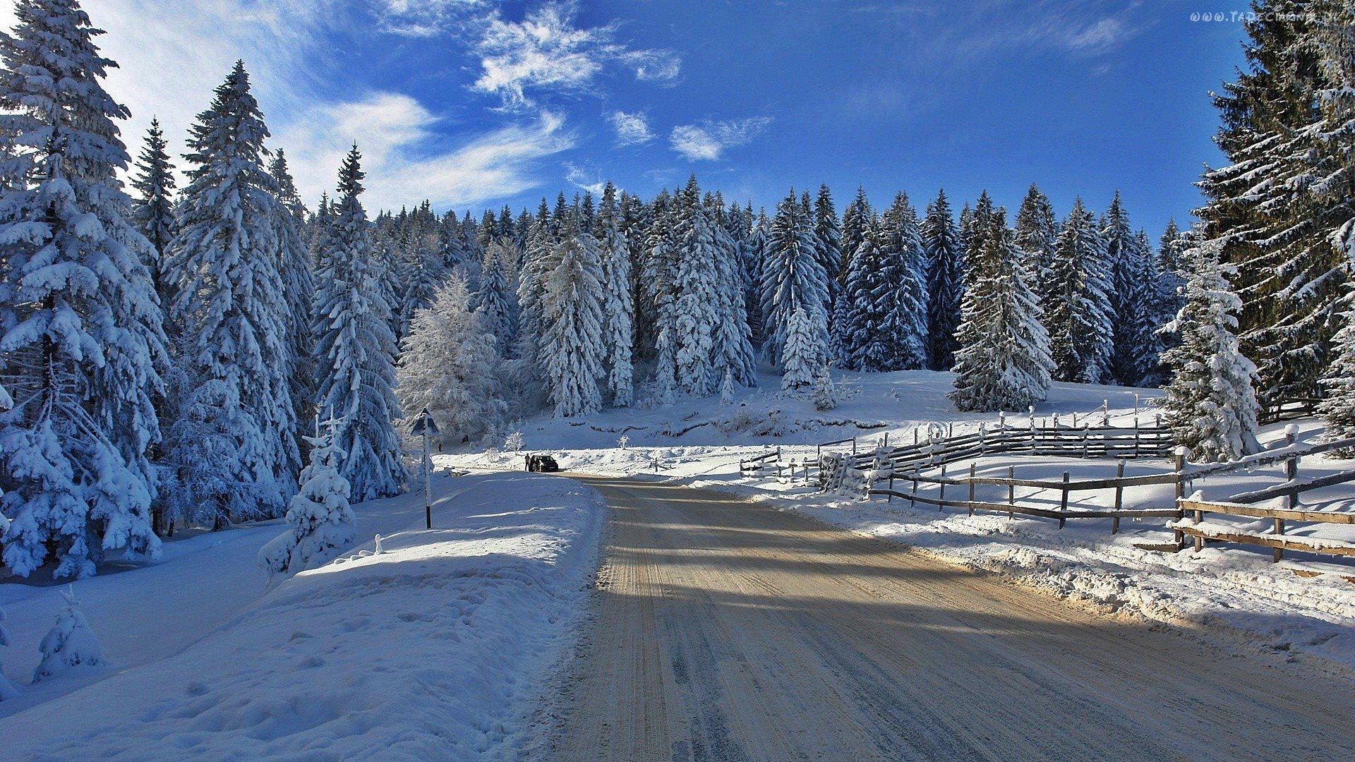 Полноэкранные зимние обои на рабочий стол
