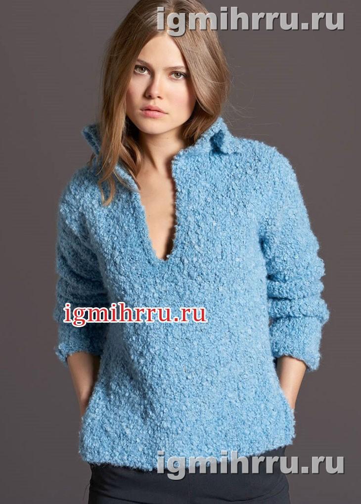 Голубой пуловер с разрезами по бокам. Вязание спицами
