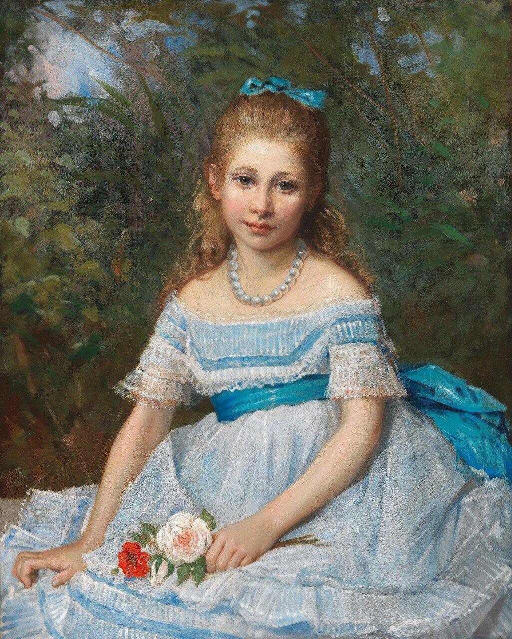 Frankreich, 19. JahrhundertMädchen im blauen Kleid mit Rosen
