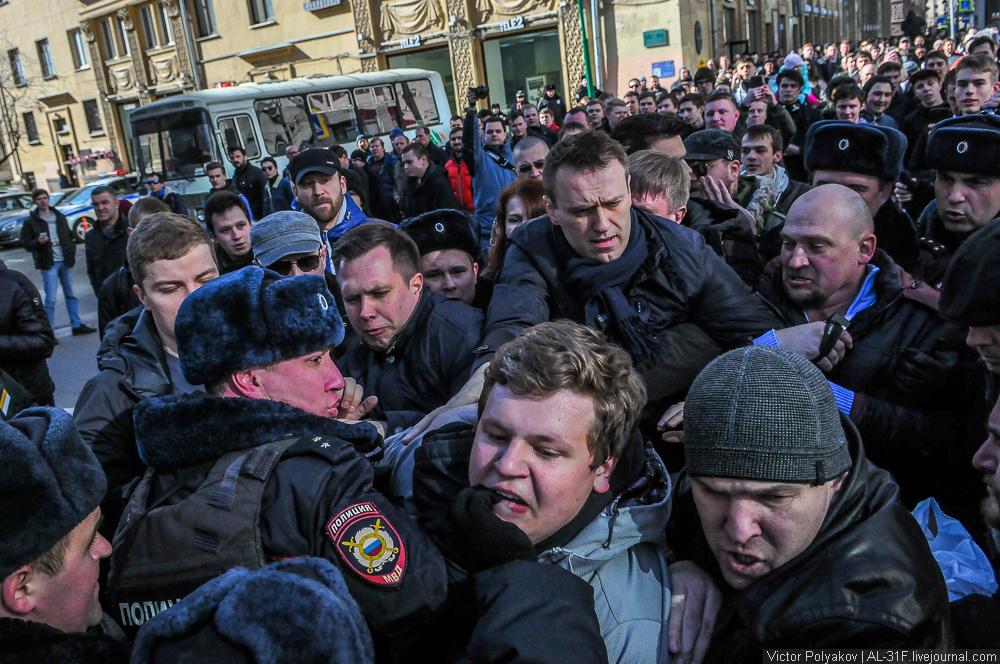 Задержание Алексей Навального. Шествие против коррупции в Москве