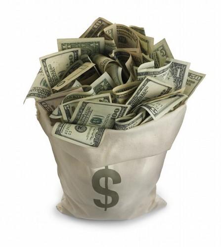 Международный день экономии. Мешок с долларами