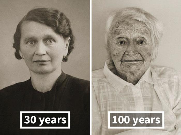 Анна Похобрадска, около 30 лет и 100 лет.