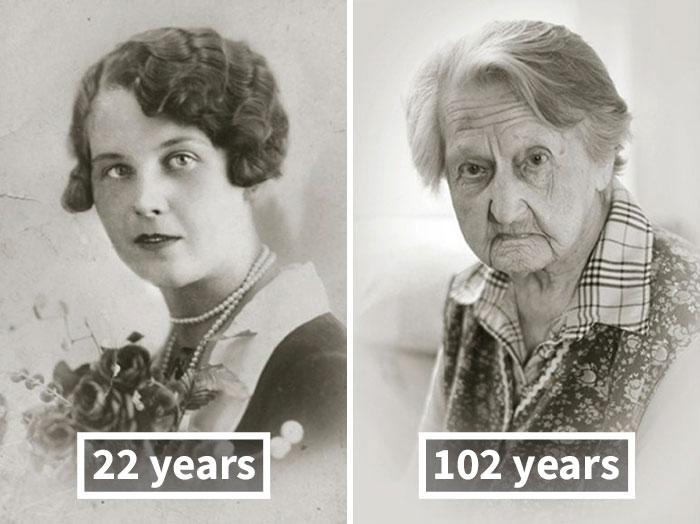 Анна Вашинова, 22 года (после свадьбы) и 102 года.