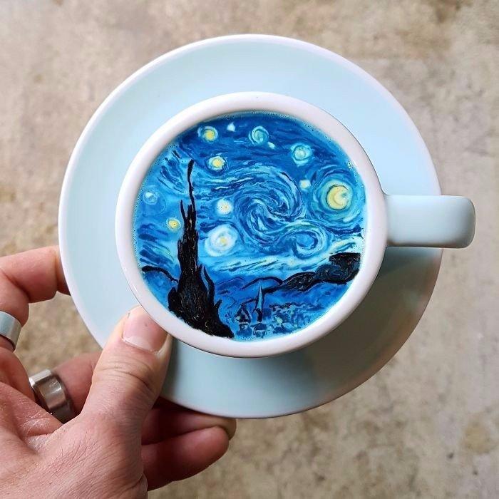 Кофейный арт. Талантливый бариста из Кореи создает удивительные узоры на латте