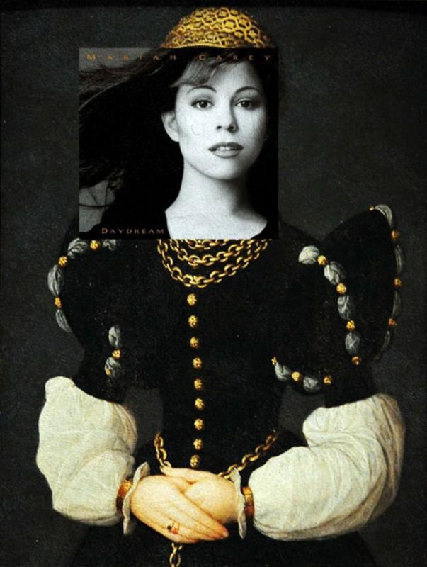 Обложка альбома Мэрайи Кэри Daydream и картина Катерины ван Хемессен «Портрет юной леди».