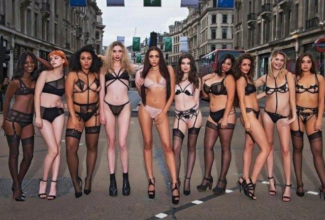 Бренд нижнего белья заставил 19 полуобнажённых моделей пройтись по улице (6 фото) 18+
