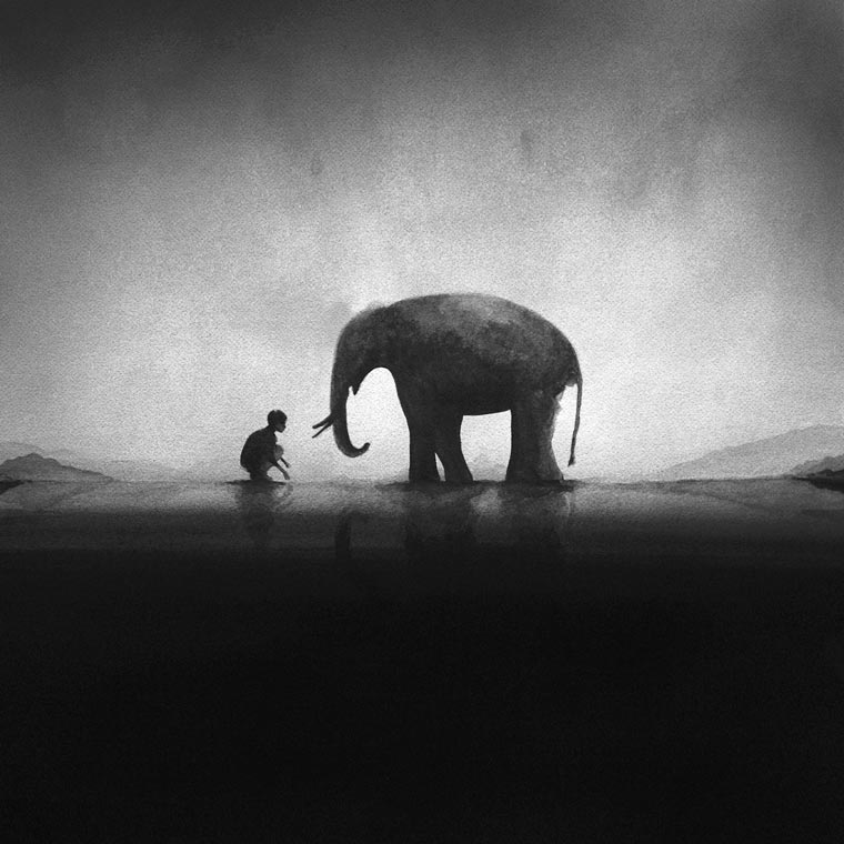 Kids and Animals - New minimalist and monochrome watercolors by Elicia Edijanto