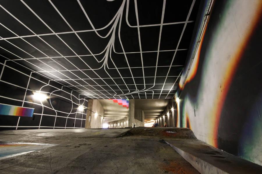 Gigantic Street Art Artwork in a Parisian Highway Tunnel