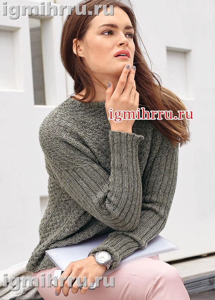 Пуловер с рельефным узором и рукавами в резинку. Вязание спицами